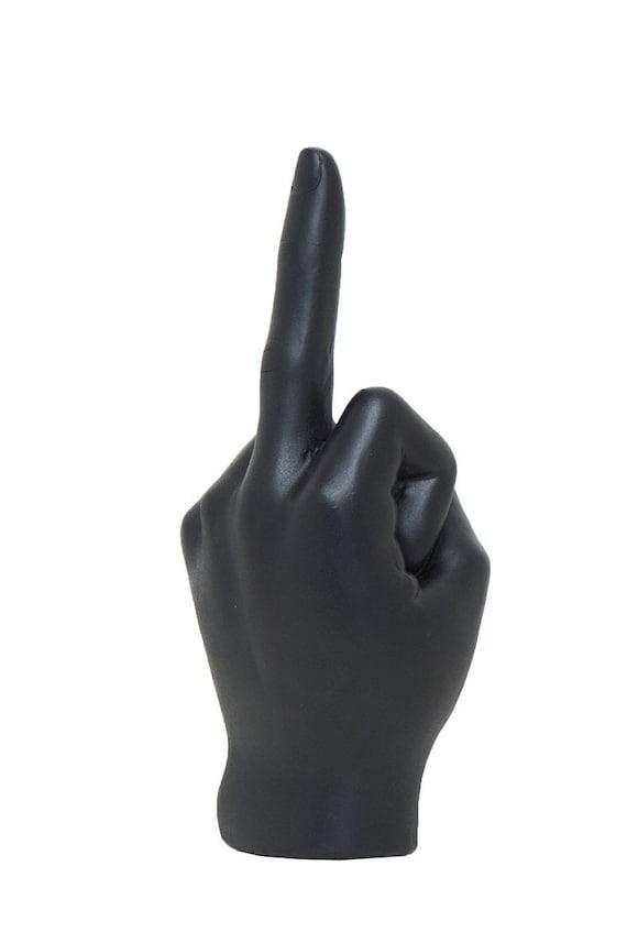 Black Middle Finger Statue Hand Sculpture Home Decor Tabletop Display Figurine