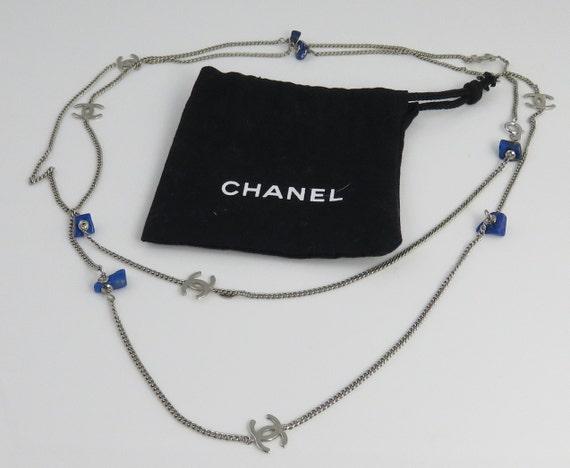 Vintage Chanel Long Necklace 97-A LAPIS 38 INCHS.