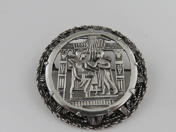Vintage Sterling Silver Egyptian  Brooch Pendant O