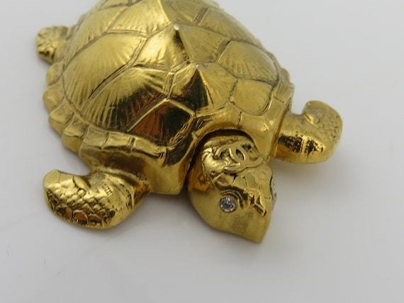 Vintage Chanel 96 A Turtle Rhinestone Brooch Stick