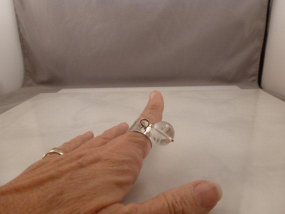 Vintage Sterling Rock Crystal Pools of Light Ring. - image 4