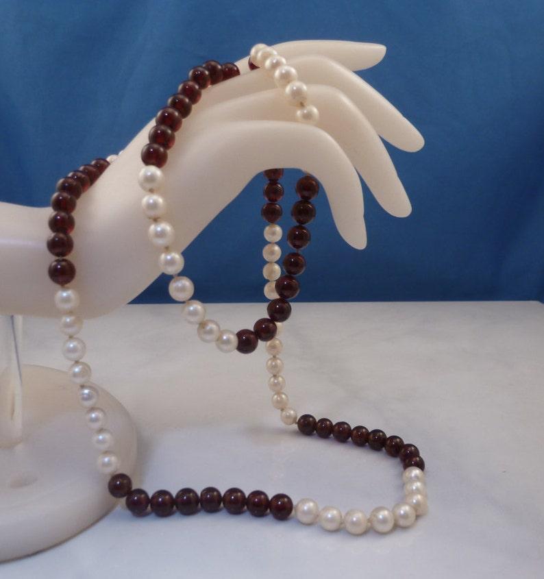 778d79f425861 Vintage Sterling Silver Garnet Cultured Pearl Strand Necklace.