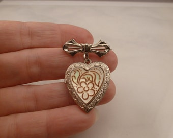 Vintage Sterling Heart Locket Bow Brooch Pin Mother of Pearl. 1950's