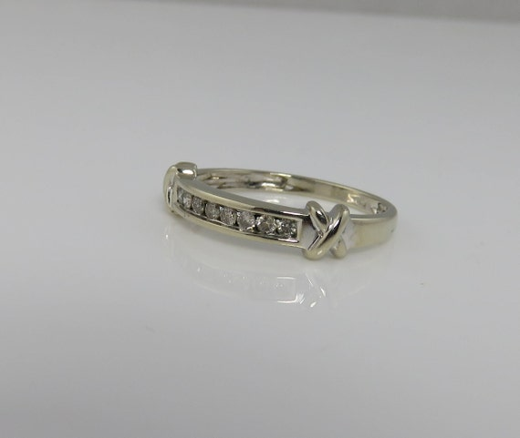 Vintage 14k White Gold Princess Cut Diamond Band Stacking Etsy