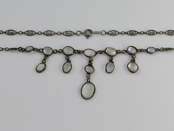 Antique Victorian Silver Moonstone Drop Necklace C