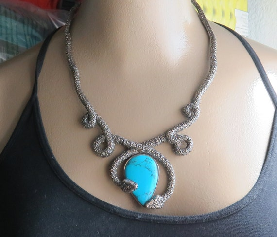 Estate Sterling Silver Double Snake Turquoise Chok
