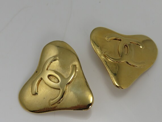 Vintage Chanel Large Heart Clip Earrings.