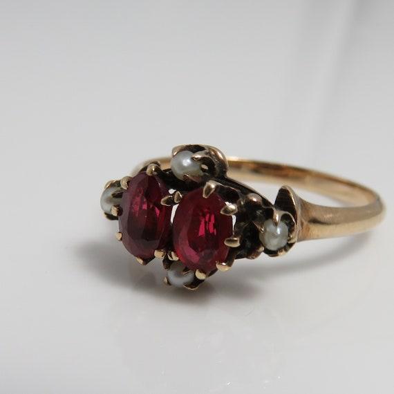 10k Victorian Almandine Garnet Seed Pearl Ring. sz