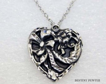 Silver Pewter Diamond Cut Heart Ribbons Necklace Handmade Jewelry