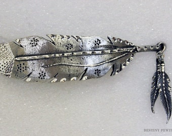 Pewter Silver Handmade Diamond Cut Southwestern Double Feather Jewelry Barrette
