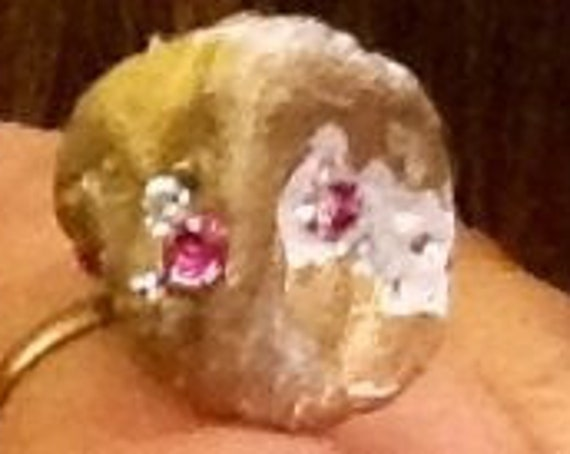 Ring hand crafted with swaroviski  6 pink crystal 3.8 mm,and white pave crystal