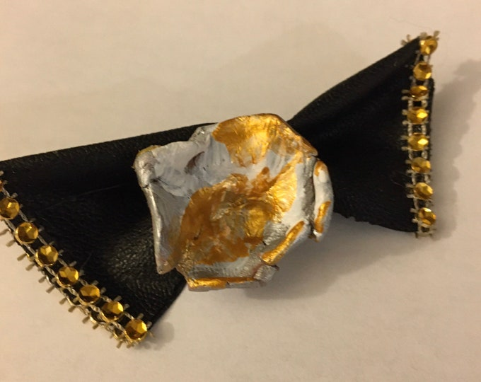 leather necklace  black bow in gold  plated chain