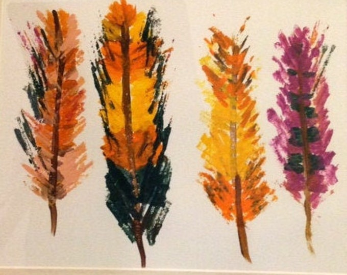 Art , four feather multi  colored in acrylic painting , festive wall decor
