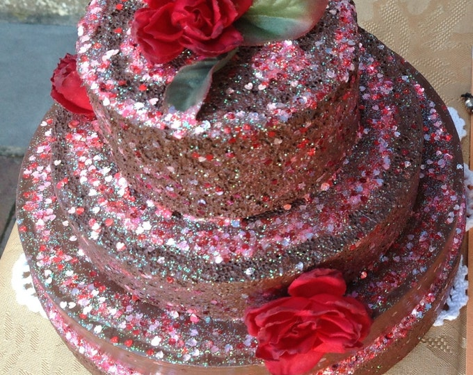 Cake decorative Handmade fake  choclate red ,embellished with red roses and silver glitter for home decor