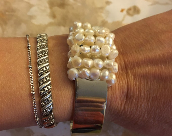 Fresh Pearl  silver cuff  with. 6  row of Chinese rice pearl gift for her