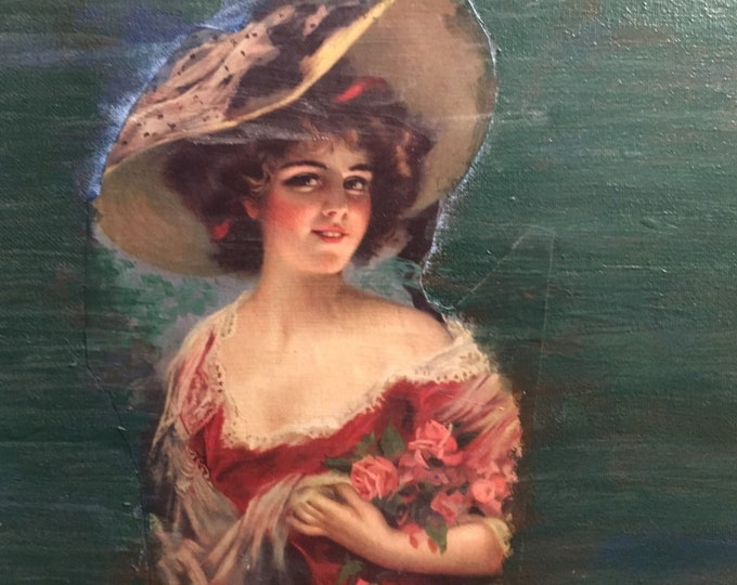 Art collage victorian lady and roses on painted dark green wall decor gift for her