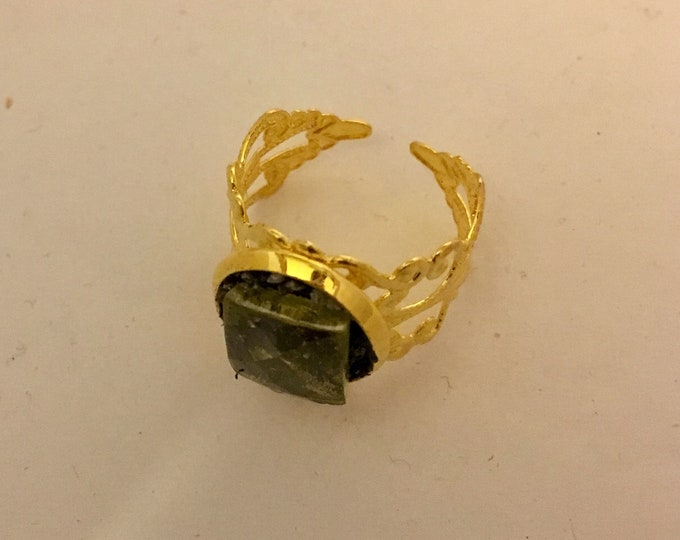 Ring  ,natural green brownish  tourmaline  gemstone  in Gold  plated filigree gift for her