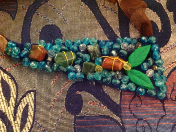 Necklace Handmade from green agate stones ,clay and glass crystal in  brown and dark blue color on felt fabric and chiffon ribbon necklace