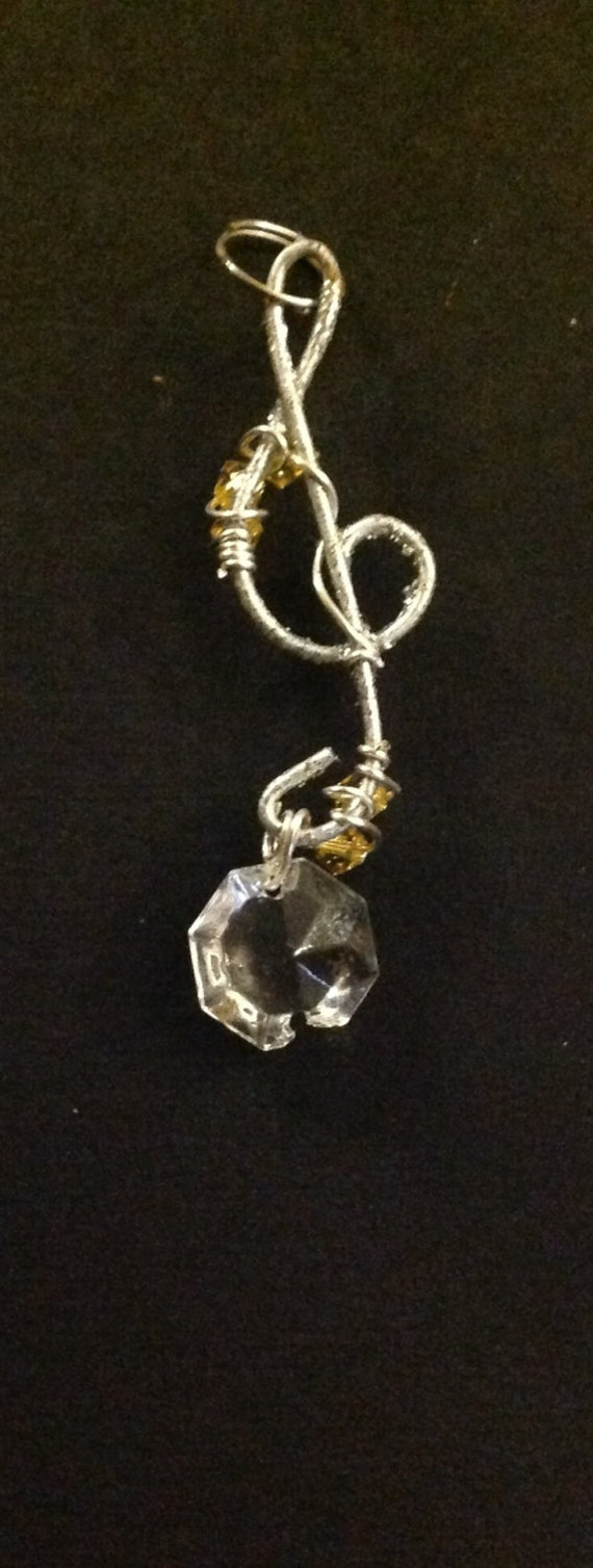 Pendant ,handmade with Sola Swarovski yellow and clear crystals