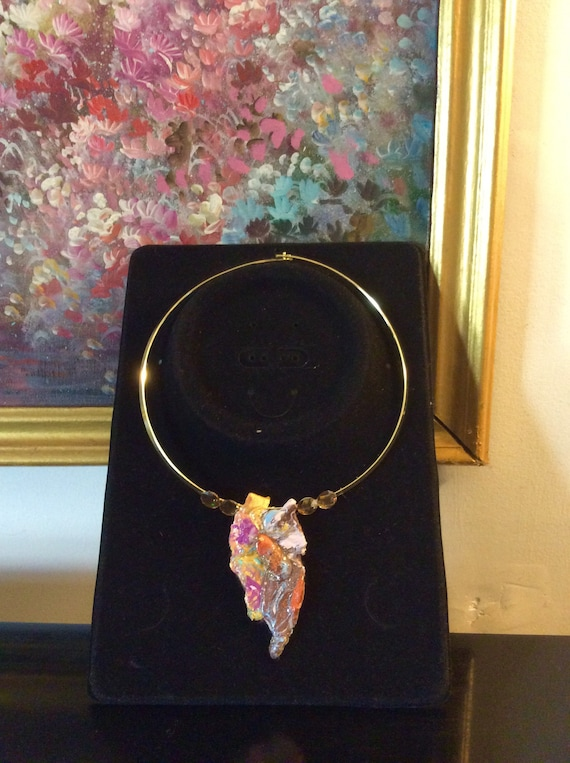 Necklace marbled abstract art and swaroviski crystal in golden color