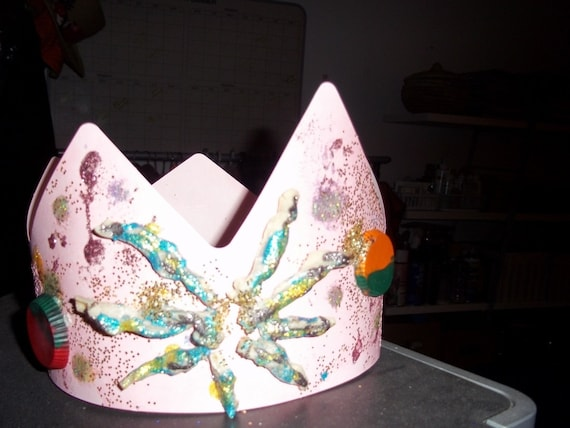 ART,MIXED MEDIA Hand made paper light pink crown ,embellished with melted art crayon ,fabric ribbon and glitter