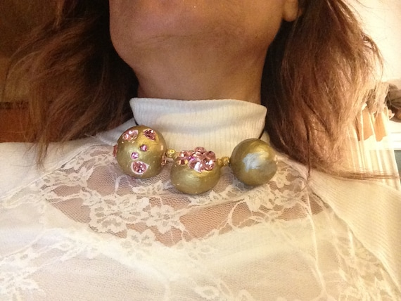 necklace with swaroviski  pink crystal  ununiform three handmade clay balls  in dark brown ribbon and 14 k mini gold balls