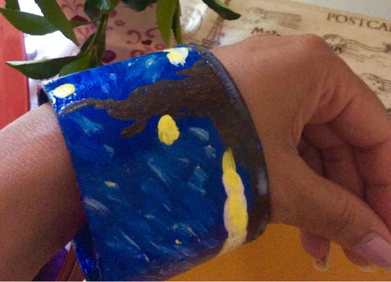 Baraclet oil  painted  art jewelry set ,  Blue in  color , blending hills into the sky.Van Gogh inspirit  ( Starry night  )
