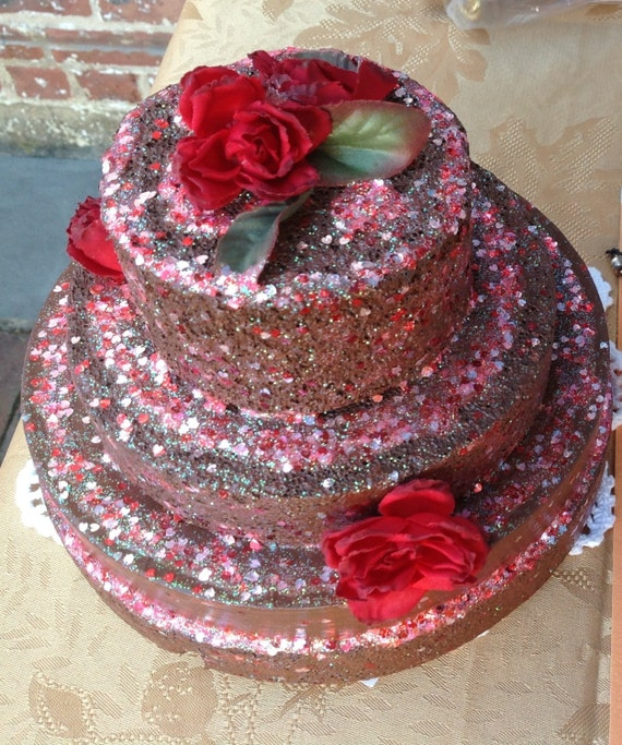 Cake decorative Hand made fake decor  choclate cake,embellished with red roses and silver glitter