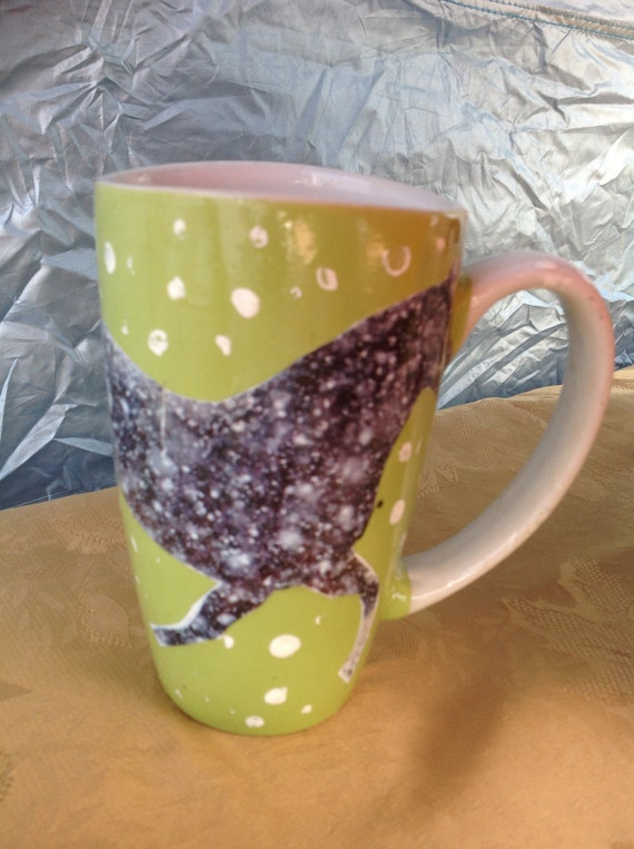 mug  with Collage work horse dashing at the snow ,coffe mug,hand made to enjoy at the farm
