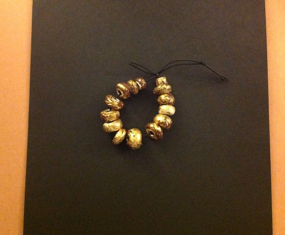 Bracalet Hand made ceramic 22k gold plated beads ,brown ,white and gold color,braclet