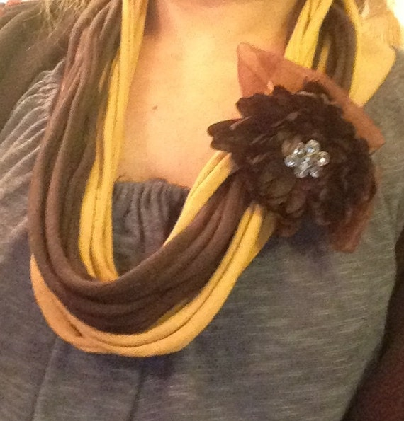 necklace   hadmade of fabric string and ribbon flower