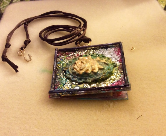 Mini art book necklace-handmade