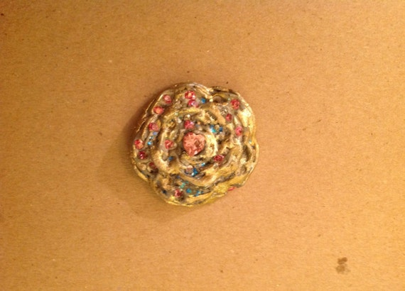 pendant ,Tudor rose style  handmade of clay ,swaroviski crystal ,semiprecious  pyrite in golden color