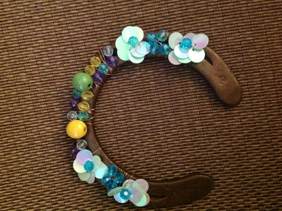 Horse shoe Hand made wood and crystal beaded horse shoe, track foot prints and steps
