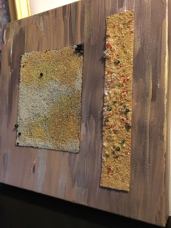 Art mixed media painting in gold , beige , silver and black color with glass  bead sclpture abstract wall decor at all occasion