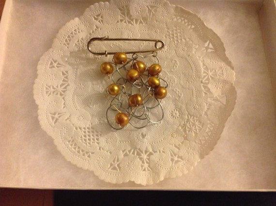 Brooch with genuine Golden color  pearls ,handmade pin