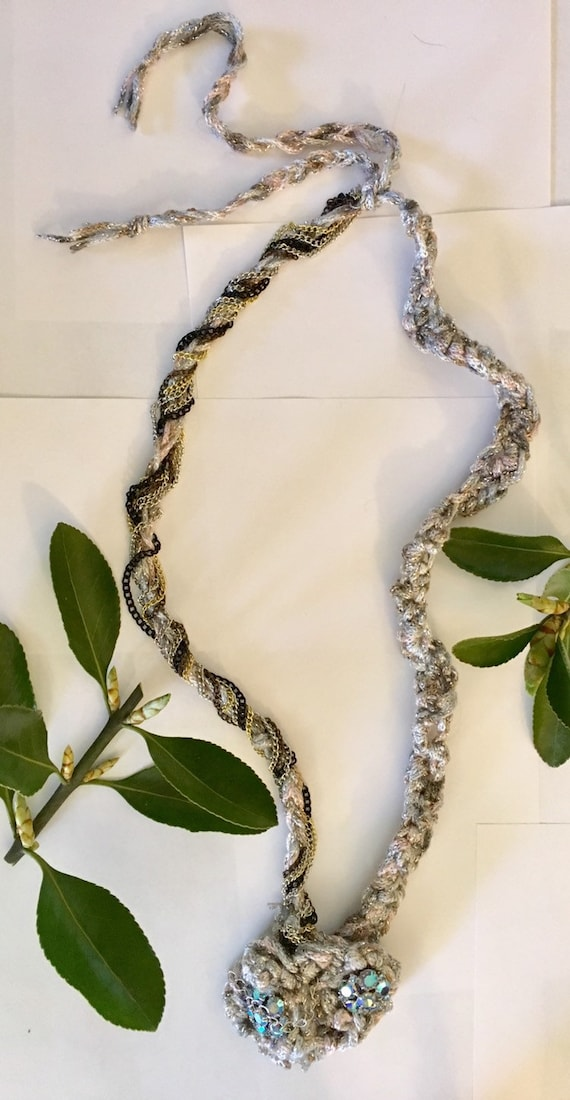 Necks lace Beaded swarovisiki crystal crochet silver greys and  white in color gift for her