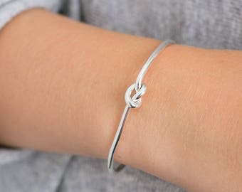 Friendship knot Sterling Silver 925 FRIENDSHIP  Bangle, love knot, friendship knot jewelery