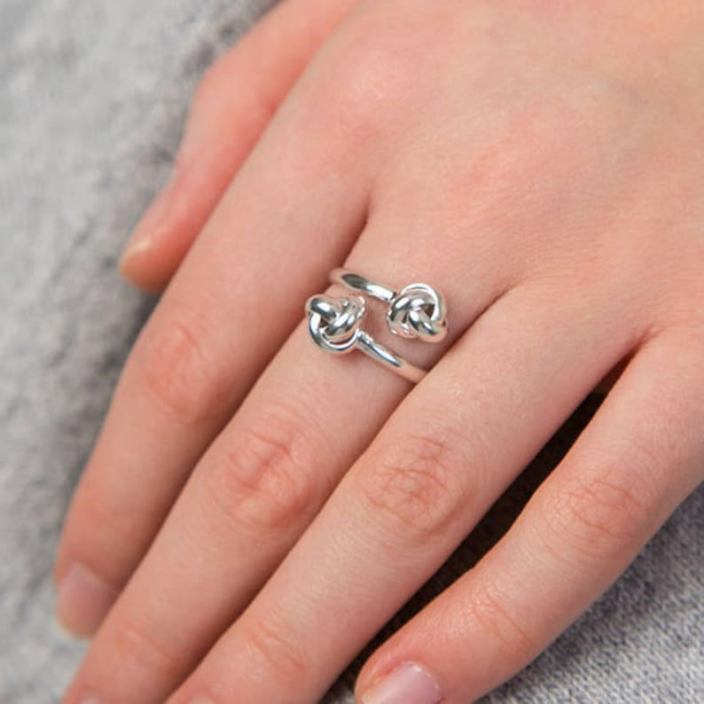 Sterling Silver Friendship Knot Adjustable Ring