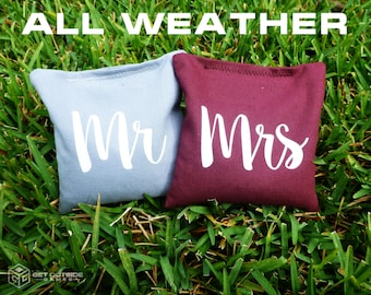 8 Mr & Mrs Classic Series Cornhole Bags - All Weather