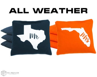 8 Mr & Mrs State Classic Series Cornhole Bags - All Weather