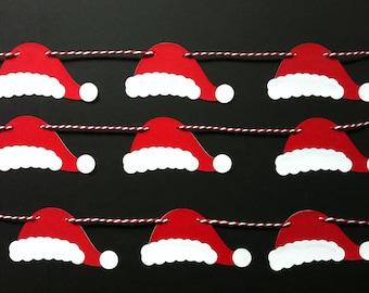 Santa Bunting - Santa Hat Garland - Christmas Garland - Festive Bunting - Festive Decor - Christmas Party - Photo Prop - Holiday Garland