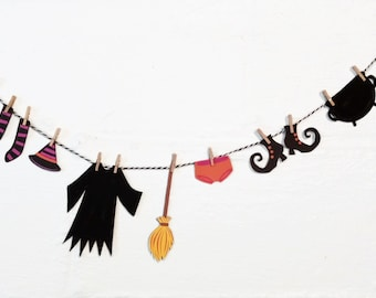 Witch Banner / Witch Clothesline / Witch Bunting / Happy Halloween / Clothesline Garland / Halloween Banner / Baby Shower / Trick or Treat