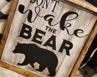 Kid room decoration, don't wake the bear. Boys room, camping decor, toddler room.
