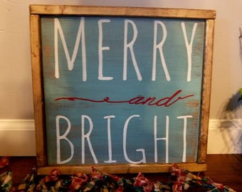 Merry and bright Christmas sign. Blue Christmas sign