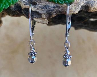 Simple Silver Bead Earrings/ Minimalist Dangle Earrings /Everyday Earrings/ Petite Dainty Earrings/ Childrens Dangle Earrings/ Kimbajul