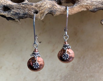 Petite Copper and Silver Disk Earrings/ Dainty Copper Earrings/ Mixed Metal Earrings/Small Round Copper Earrings/Kimbajul