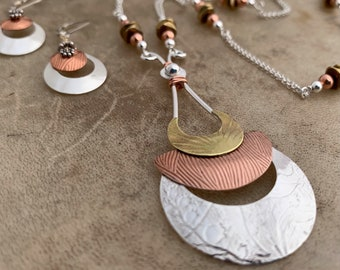 Cleopatra Mixed Metal Artisan Necklace/Silver,Copper,Brass One of a Kind Pendant/Statement Necklace/Kimbajul/Kimbagirl/Arizona