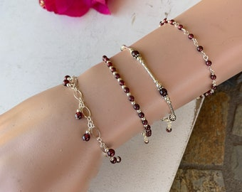 Garnet Beaded Bracelets/Root Chakra Stone Bracelets/January Birthstone Gift/Layering Bracelets/Stacking Bracelets/Kimbajul/Arizona