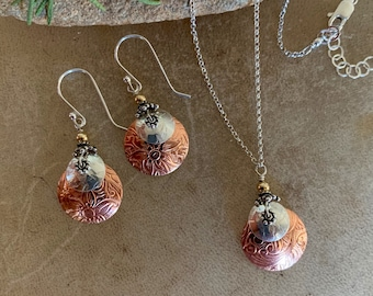 Copper and Silver And Gold Necklace and Earring Set/Tri Color Textured Copper and Sterling Layered Metals Jewelry/Everyday Wear/kimbajul